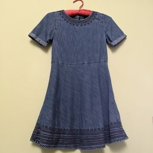 GapKids Girls Chambray Dress with detailed stitch
